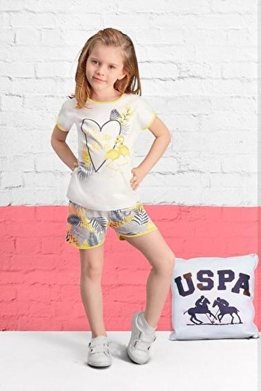 U.S. Polo Assn. Lisanslı Kız Çocuk Şort Takım Krem